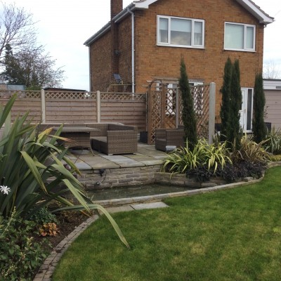 Planting, Turf, Large Water Feature with Pond and Paving