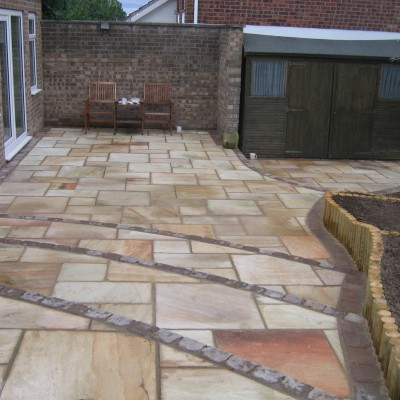Indian stone steps and Tegula edging