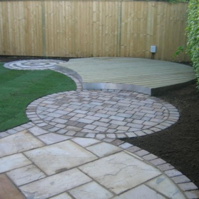 Indian stone pathway and patio, Tegula edgings